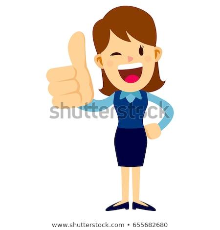 omhoog · zakenvrouw · glimlachend · business · vrouw · glimlach - stockfoto © rastudio