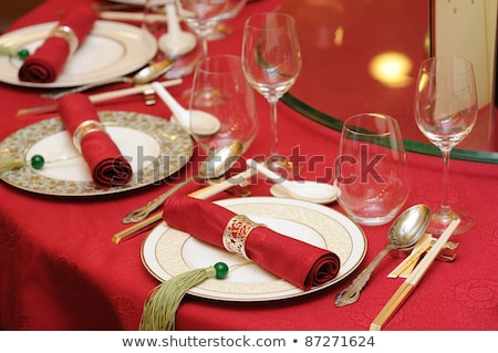 Chinese wedding banquet table setting stock photo © bedo