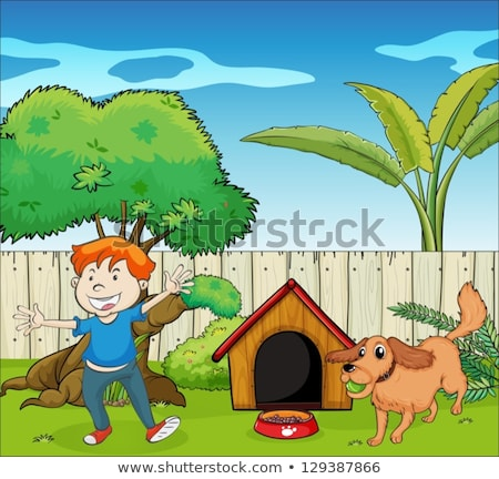 cartoon animals are dancing in the yard of the house stock photo © aminmario11