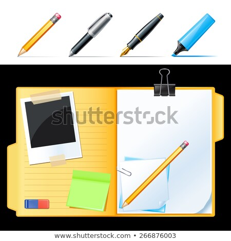Folders with pen, pencil and note reminder sticker, office document stock photo © Andrei_