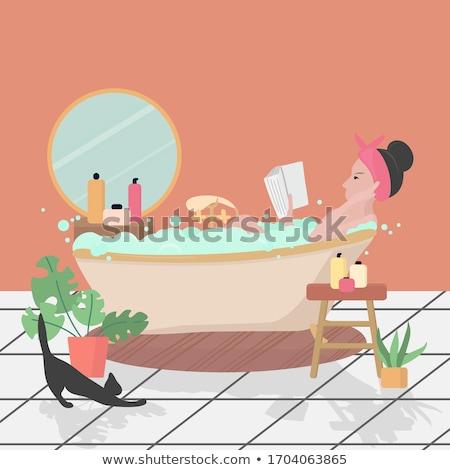 Woman lying bath. girl washing in bathtub. Vector illustration Stock photo © popaukropa