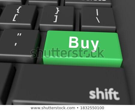 Vert clavier bouton doigt poussant Photo stock © tashatuvango