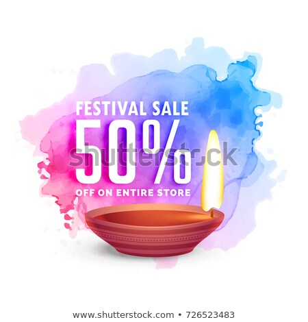 Zdjęcia stock: Beautiful Diwali Sale Voucher Design On Watercolor Background