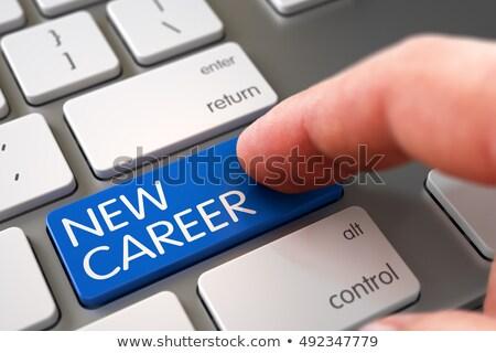 hand touching new job key 3d stock photo © tashatuvango