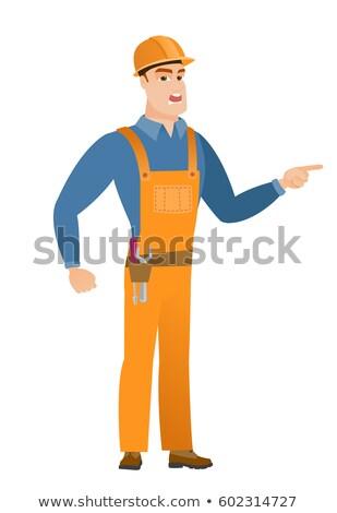 bouwer · bouwvakker · wijzend · cartoon · illustratie - stockfoto © rastudio