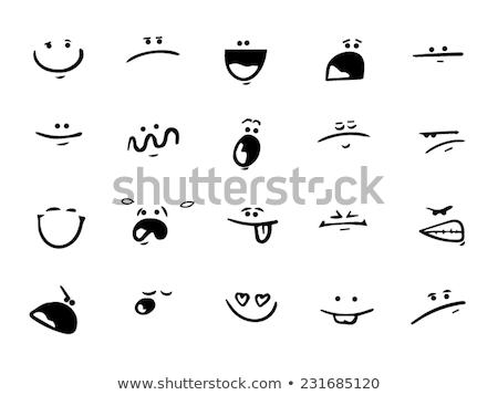 Matrica szett különböző arckifejezések illusztráció mosoly Stock fotó © bluering