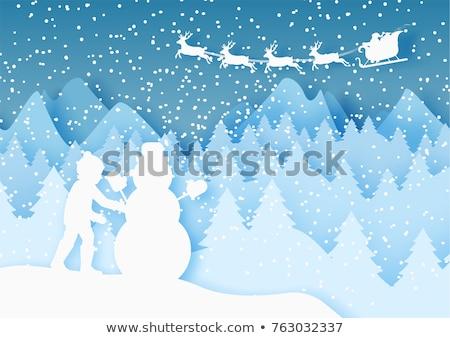 kinderen · sneeuwpop · meisje · jongen - stockfoto © krisdog
