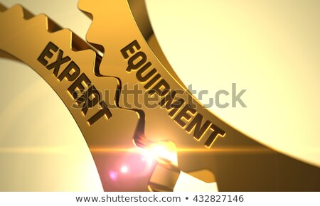 golden metallic gears with equipment expert concept stock photo © tashatuvango