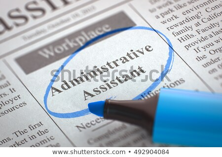 Baan opening administratief assistent krant kolom Stockfoto © tashatuvango