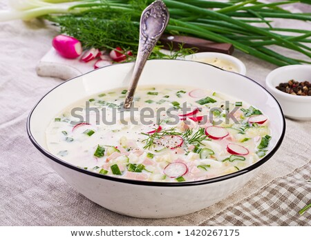 summer cold soup with radish cucumber and dill stock photo © valeriy