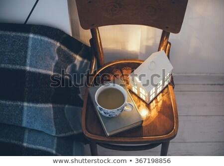 lakások · tél · éjszaka · stilizált · színes · ház - stock fotó © tracer