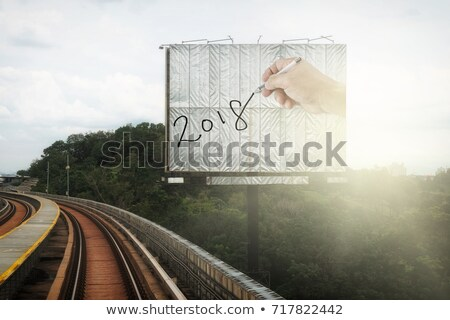 number 2018, as the new year, on the railway Stock photo © nito