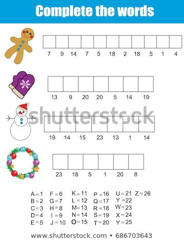 palabras · rompecabezas · pan · de · jengibre · educativo · Navidad · juego - foto stock © olena
