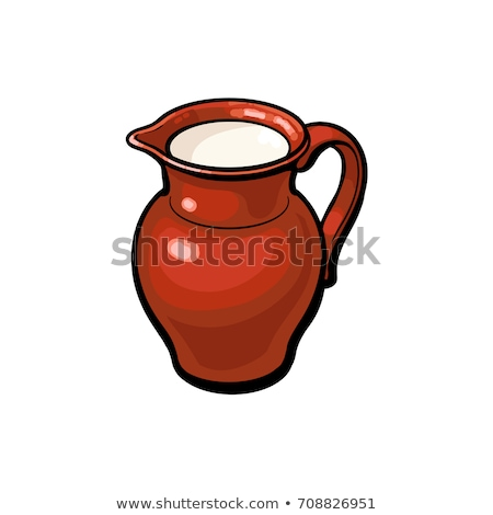 Clay pottery jug pitcher full of milk Stock photo © orensila