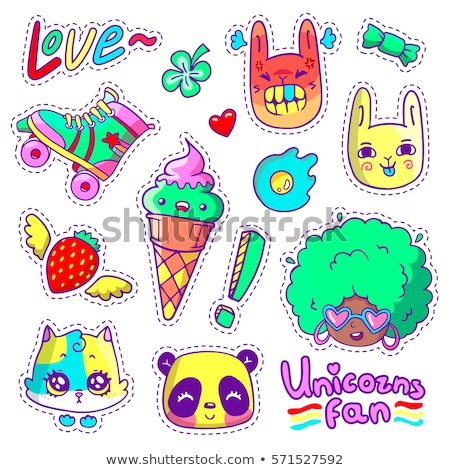 Stickers, pins, patches collection in cartoon 80s-90s comic style Stock photo © ikopylov