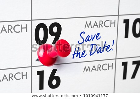 Wall calendar with a red pin - March 09 Stock photo © Zerbor