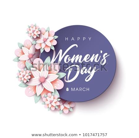 Nőnap üdvözlőlap boldog képeslap szöveg virágok Stock fotó © kostins