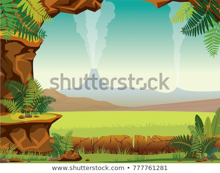 Scène grot blauwe hemel illustratie hemel wolken Stockfoto © bluering