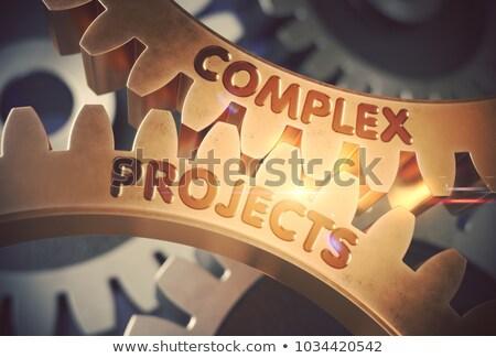 golden gears with complex projects concept 3d illustration stock photo © tashatuvango