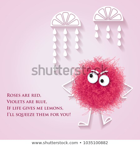 Funny  banner with fluffy pink creature and lyrics message Stock photo © balasoiu