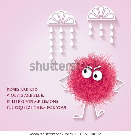 Funny banner mullido rosa criatura mensaje Foto stock © balasoiu