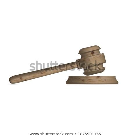 wooden judge gavel isometric 3d elements stock photo © studioworkstock