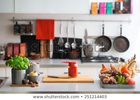 Noten specerijen keukentafel amandelen ingrediënten witte Stockfoto © shutter5