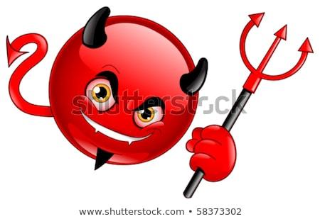 Piros ördög rajz karakter tart izolált Stock fotó © hittoon