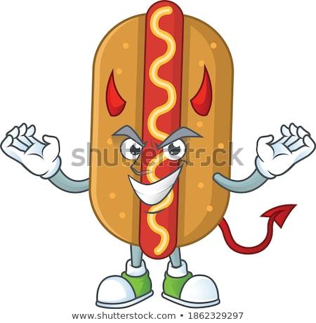 Zły diabeł burger maskotka cartoon charakter ilustracja Zdjęcia stock © hittoon
