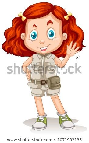 Lány vörös haj szafari öltöny illusztráció arc Stock fotó © bluering