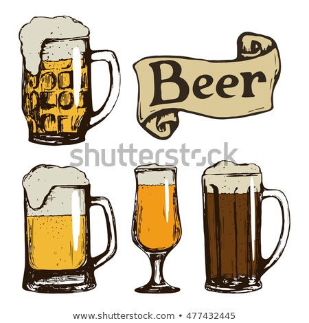 Beer set. Vintage sketch. Vector old paper texture food and drink Stock photo © FoxysGraphic