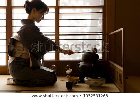 набор чай церемония деревянный стол горизонтальный листьев Сток-фото © grafvision