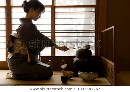 ingesteld · thee · ceremonie · houten · tafel · horizontaal · bladeren - stockfoto © grafvision