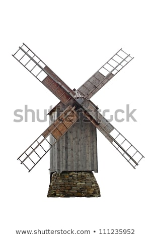 old wooden windmill stock photo © vrvalerian