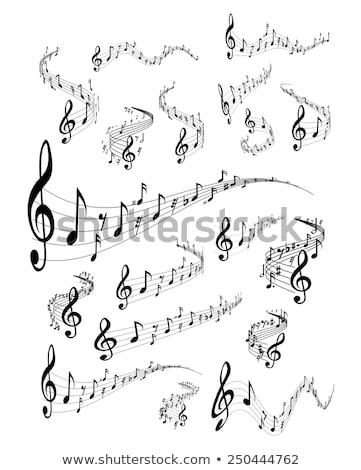 Muziek merkt golvend personeel abstract vector achtergrond Stockfoto © pakete