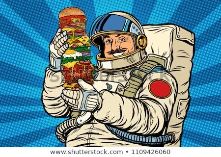 Astronauta gigant burger pop art retro Zdjęcia stock © studiostoks