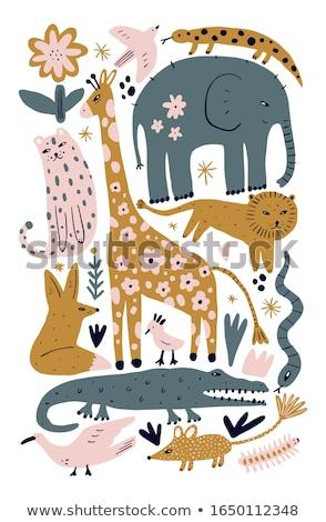 Safari kız zürafa örnek mutlu arka plan Stok fotoğraf © bluering
