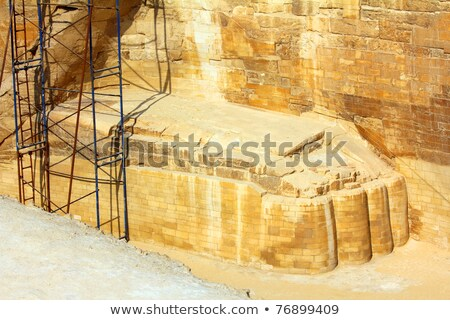 sphinx foot   fragment of famous egypt monument stock photo © mikko