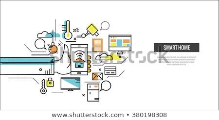 Lijn ontwerp smart home banner huis Stockfoto © Genestro