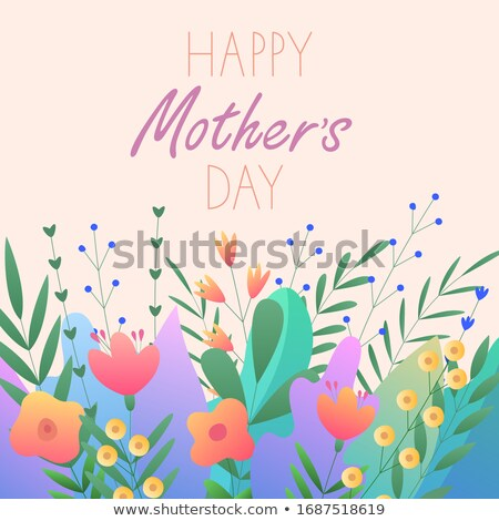 Happy Mothers Day Greeting card with flower on light blue background. Vector Celebration Illustratio Stock photo © articular