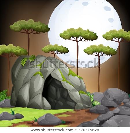 Jaskini ilustracja charakter księżyc tle Zdjęcia stock © bluering
