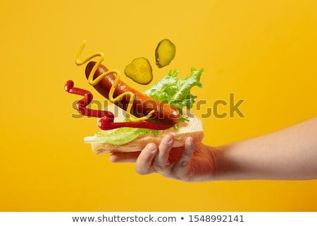 Cachorro-quente salada ketchup cômico desenho animado Foto stock © rogistok