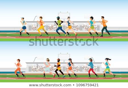 Glimlachend afgewerkt lopen stadion Stockfoto © deandrobot