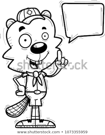 cartoon male beaver scout talking stock photo © cthoman