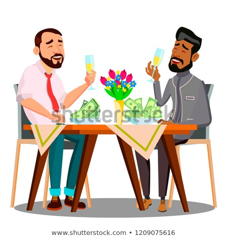 business lunch two people at the table with plates full of money vector isolated illustration stock photo © pikepicture