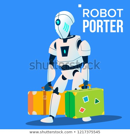 Robot Porter Carries A Lot Of Luggage Vector. Isolated Illustration Stock photo © pikepicture