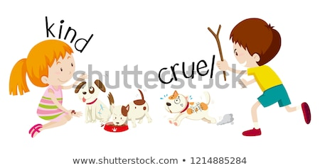 English opposite word kind and cruel Stock photo © bluering