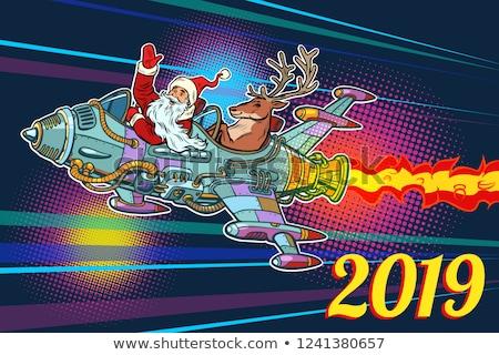Foto stock: Espaço · foguete · alegre · natal · desenho · animado