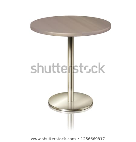 Stock photo: Round Table On A Chrome Metal Stand Without A Tablecloth Furniture For A Restaurant Cafe Diner A