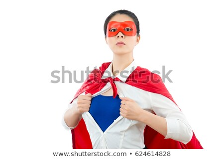 Successful businesswoman acts like a super hero. isolated on white background Stock photo © alphaspirit
